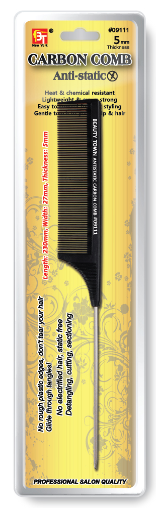Pin Tail Comb -Heat& Chemical Resistant Antistatic Carbon Comb