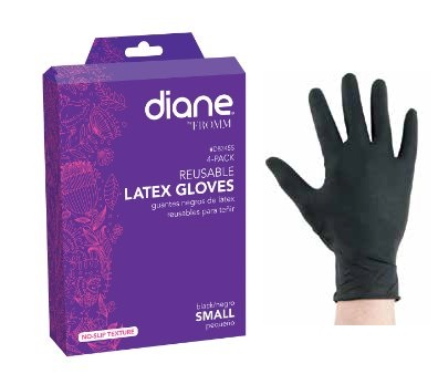 Reuseable Black Latex Gloves Small 4 Count