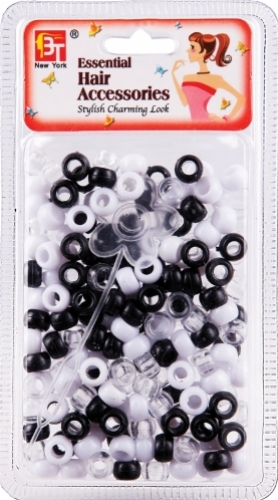 SMALL ROUND BEADS (BLACK/WHITE/CLEAR)