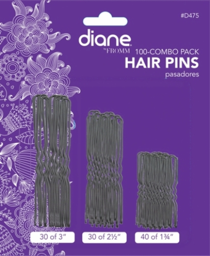 Hair Pins Black 100-pack-(40-1.75 inch, 30-2.5 inch, 30-3 inch)